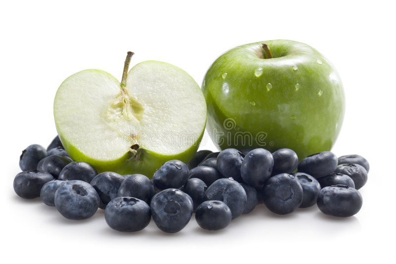 Appelen en bosbessen stock foto's
