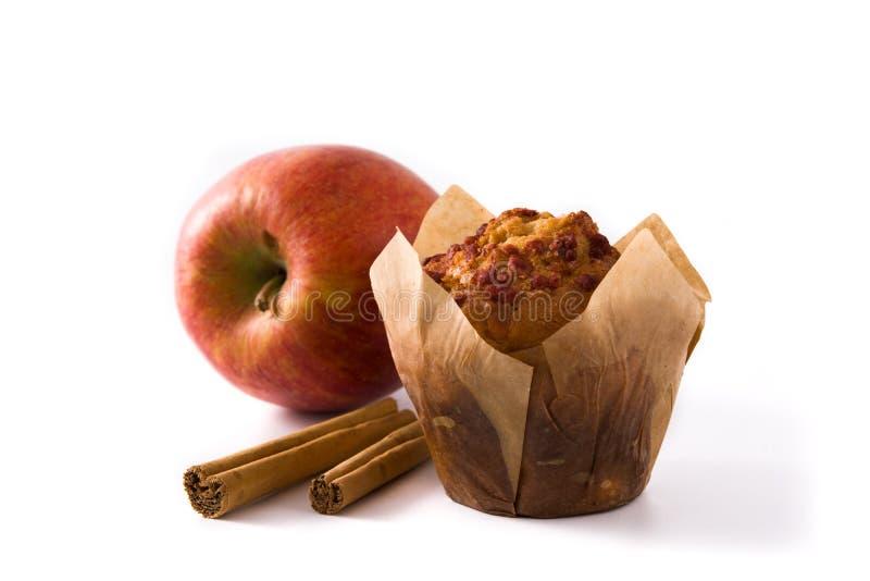 Appelen en geïsoleerde kaneelmuffins stock afbeeldingen
