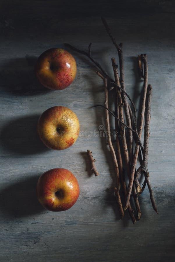 Appelen en stokken voor gekarameliseerd, makend Halloween-appelen stock afbeelding