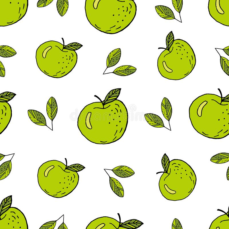 Appelen groen naadloos patroon royalty-vrije illustratie