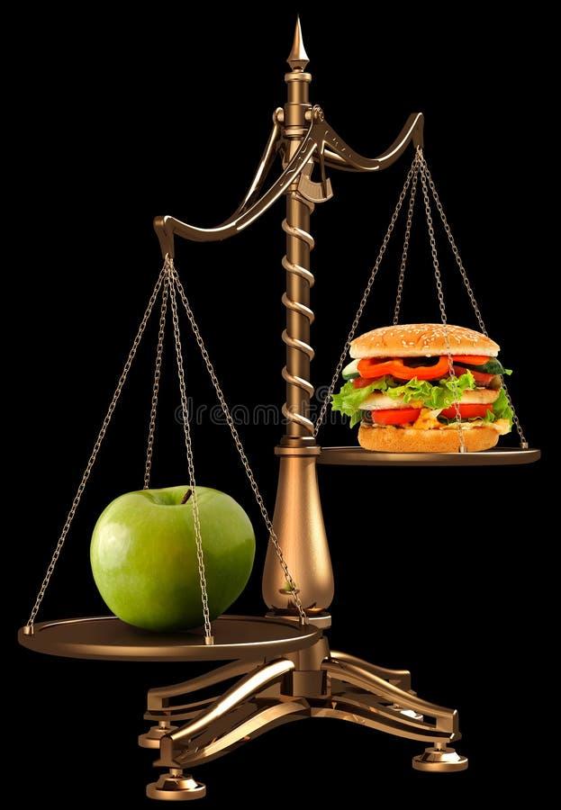 Appelen in plaats van hamburgers stock afbeelding