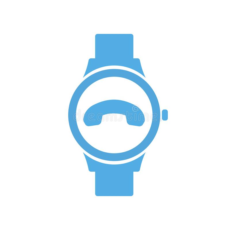 Appelez l'extrémité de concept technologie futée, smartwatch, icône de montre illustration libre de droits