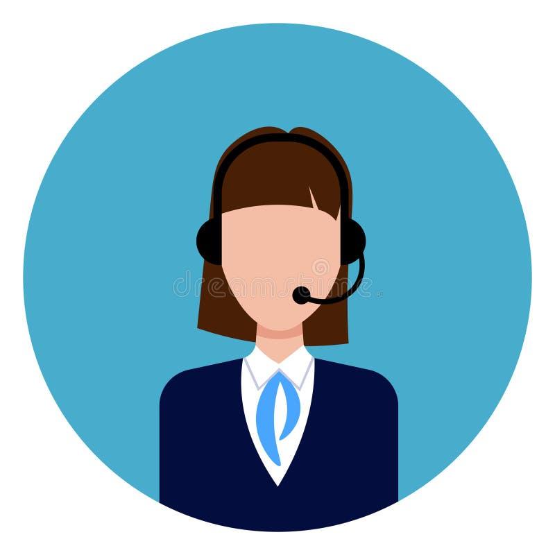 Appelez l'icône de main-d'œuvre féminine de support après-vente fond bleu rond illustration de vecteur