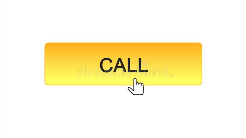 Appelez le curseur de souris cliqué sur par bouton d'interface de Web, couleur orange, support technique illustration stock