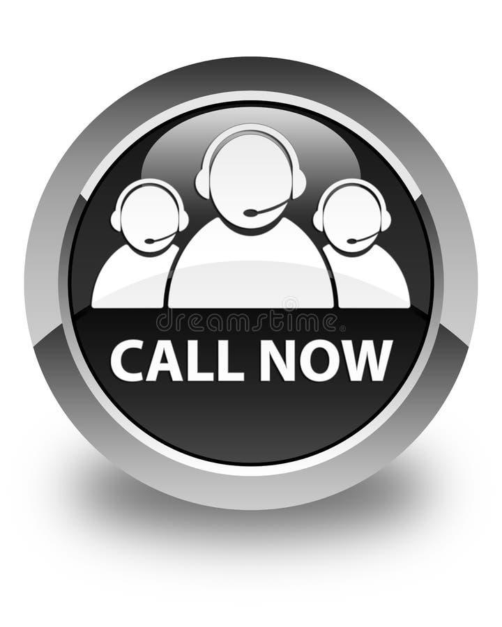 Appelez maintenant (icône d'équipe de soin de client) le bouton rond noir brillant illustration stock