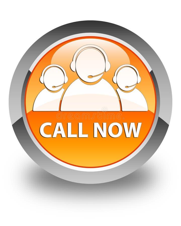 Appelez maintenant (icône d'équipe de soin de client) le bouton rond orange brillant illustration libre de droits