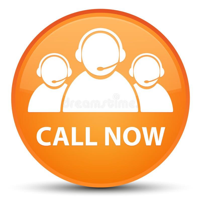 Appelez maintenant (icône d'équipe de soin de client) le bouton rond orange spécial illustration libre de droits