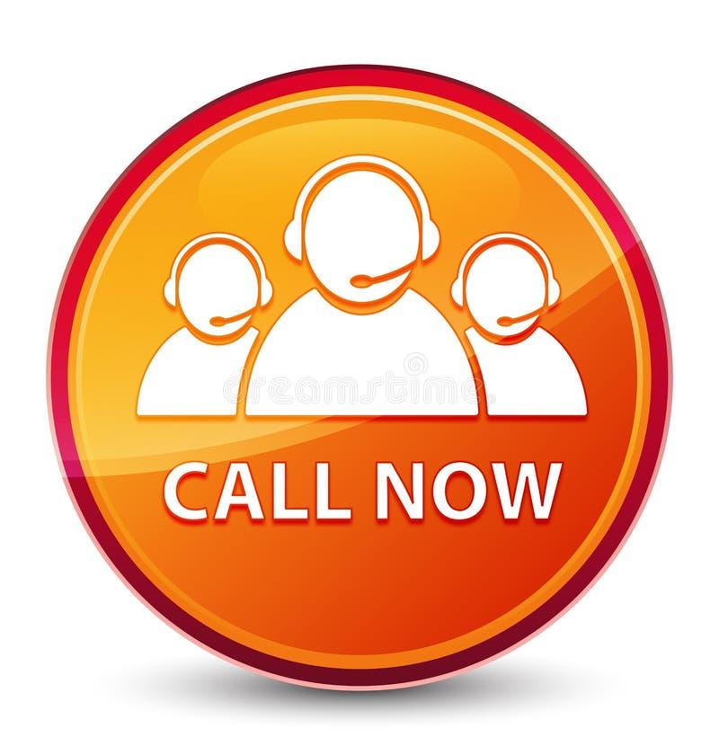 Appelez maintenant (icône d'équipe de soin de client) le bouton rond orange vitreux spécial illustration de vecteur
