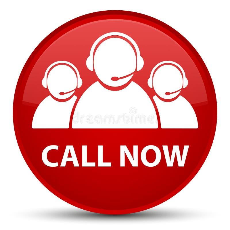 Appelez maintenant (icône d'équipe de soin de client) le bouton rond rouge spécial illustration stock