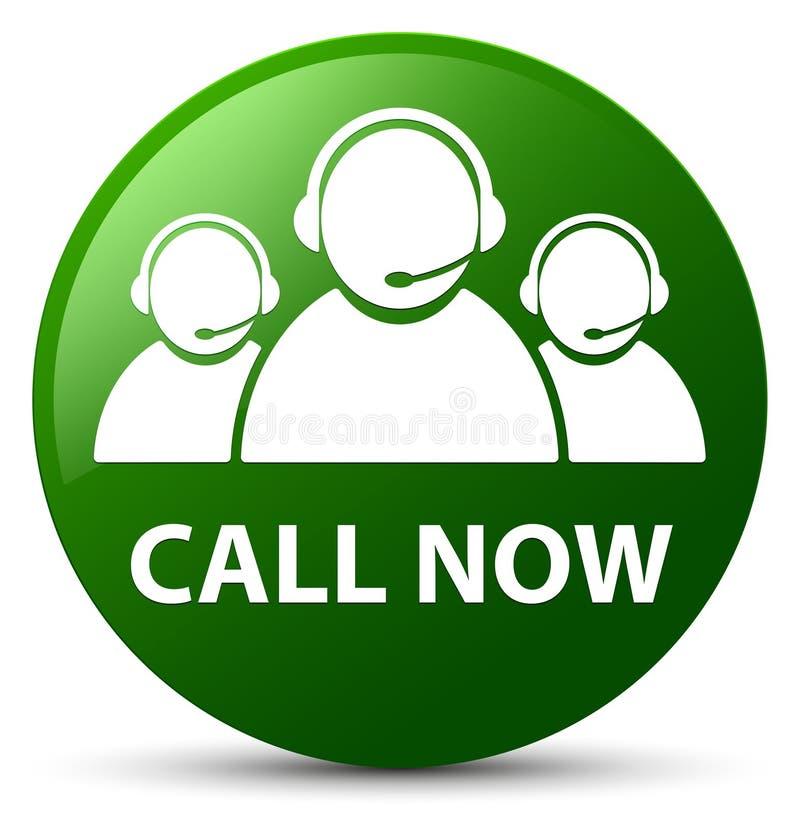 Appelez maintenant le bouton rond de vert (d'icône d'équipe de soin de client) illustration libre de droits