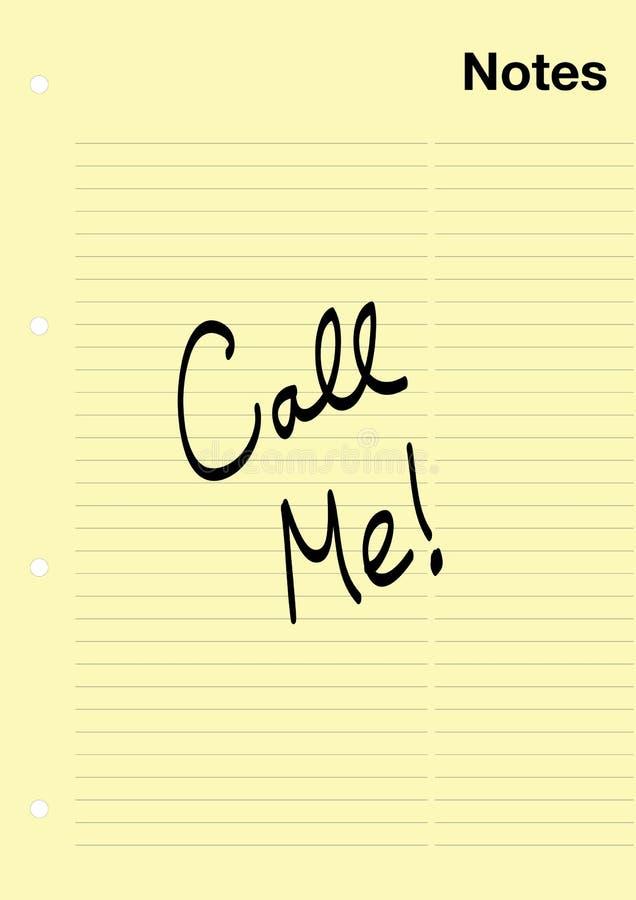 Appelez-moi ! Notez illustration stock