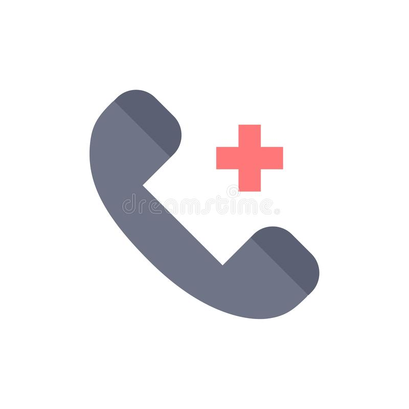 Appell cirkel, sjukhus, telefon, plan färgsymbol för borttagnings Mall för vektorsymbolsbaner royaltyfri illustrationer