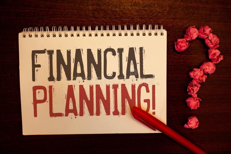 Appell för finansiell planläggning för handskrifttext Motivational För redovisningsplanläggningen för begreppet analyserar menand royaltyfri illustrationer