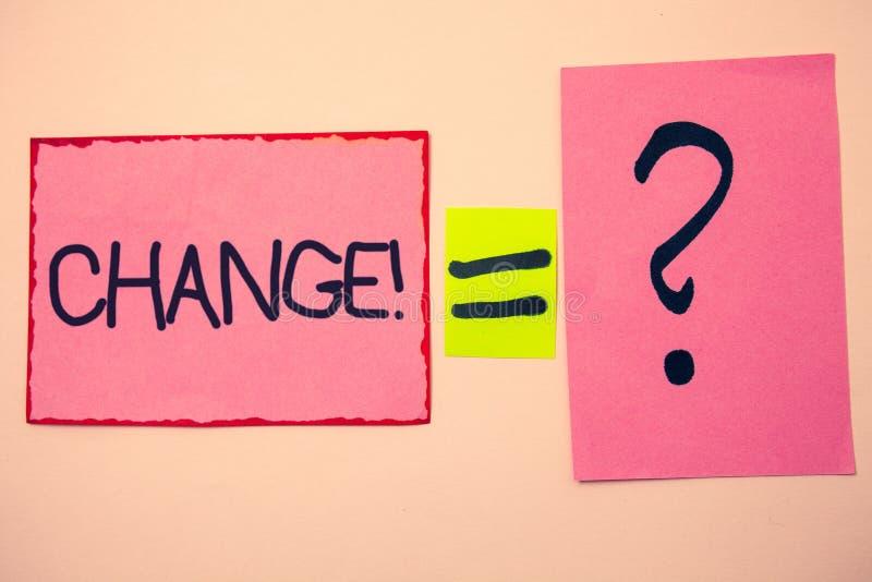 Appell för handskrifttextändring För förändringsjustering för begrepp rosa menande meddelanden för idéer för ändring för övergång arkivfoton