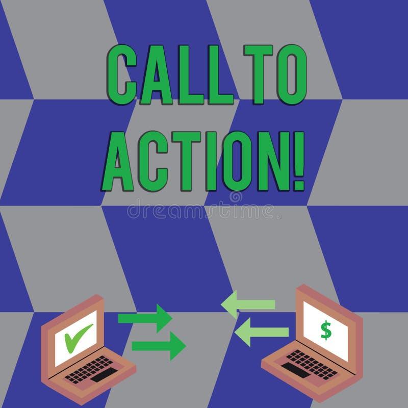 Appell för textteckenvisning till handling Begreppsmässigt foto mest viktig del av det online-digitala utbytet för marknadsföra a royaltyfri illustrationer