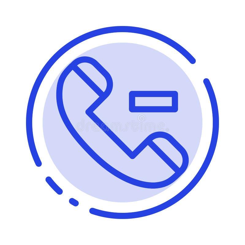 Appell kontakt, blå prickig linje linje symbol för borttagnings stock illustrationer