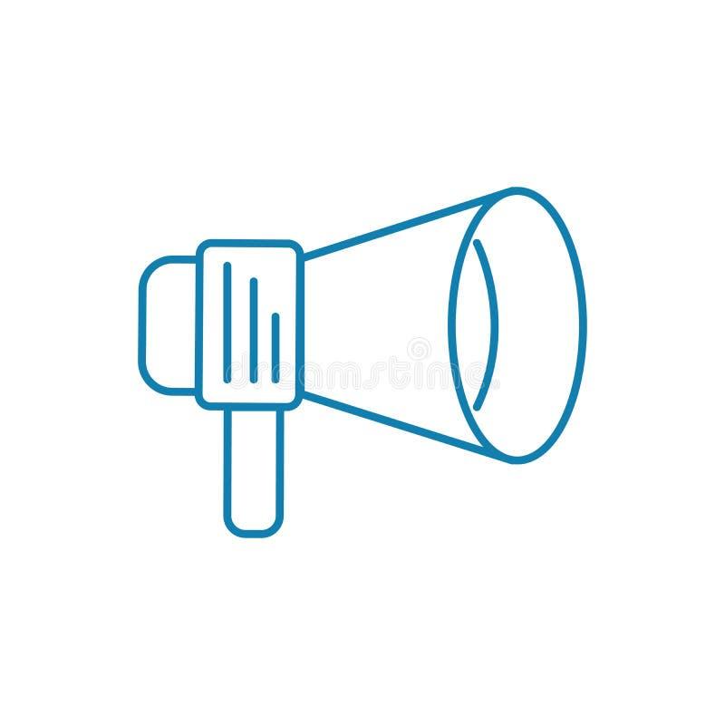 Appell till det linjära symbolsbegreppet för handling Appell till handlinglinjen vektortecken, symbol, illustration stock illustrationer