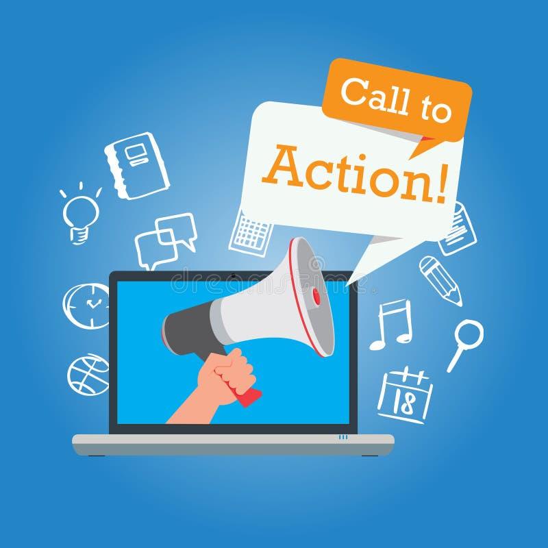 Appell till handlingknappen som marknadsför online-designsidan royaltyfri illustrationer