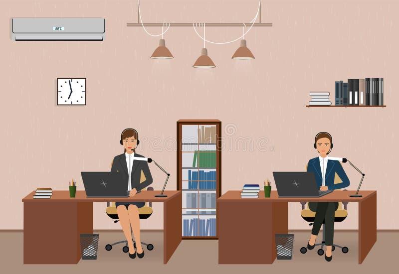 Appellmitt och kundtjänstkontor med kvinnaanställd Arbetsplatsinre- och helplineoperatörer med headphonen royaltyfri illustrationer
