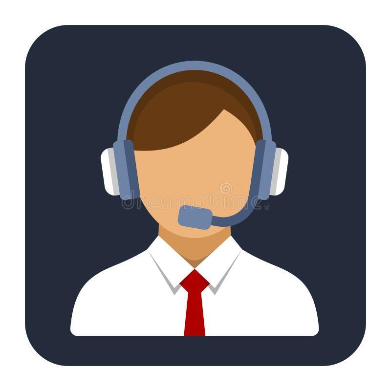 Appellmittoperatör eller chef med hörlurar med mikrofonlägenheten vektor illustrationer