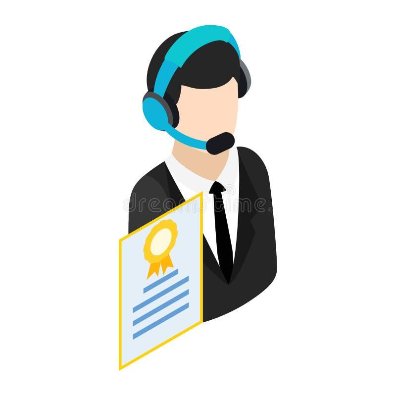 Appellmittoperatör med hörlurar med mikrofonsymbolen royaltyfri illustrationer