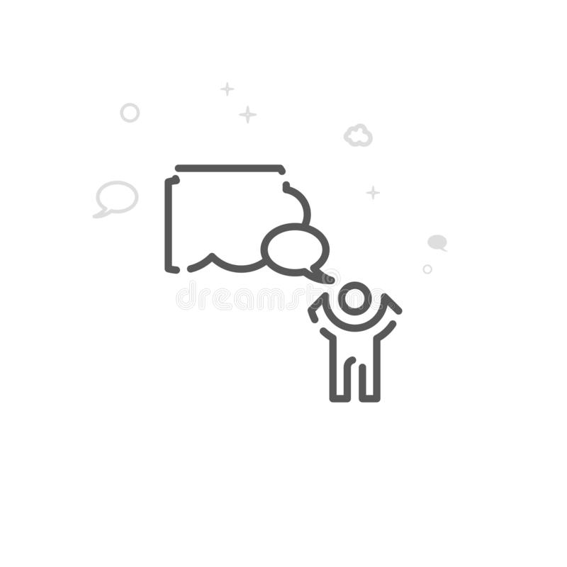 Appello alla linea icona, simbolo, pittogramma, segno di vettore di cielo Fondo geometrico astratto leggero Colpo editabile illustrazione vettoriale