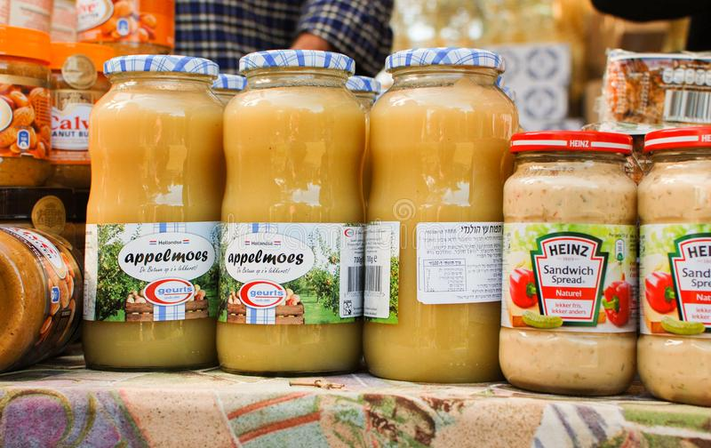 Appelmoes for sale at street market royalty free stock photo