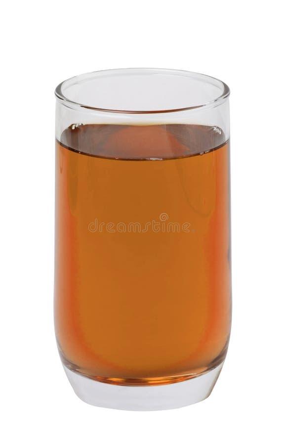 Appelsap in glas op wit wordt geïsoleerd dat stock fotografie