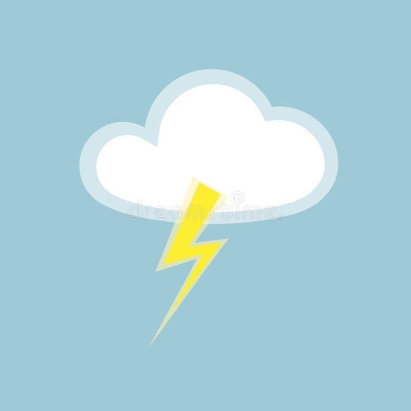 Appen för beståndsdelen för molnblixtsymbolen isolerade den enkla symbol på blå bakgrundssymbol av regnigt väder med åskablixt fr stock illustrationer