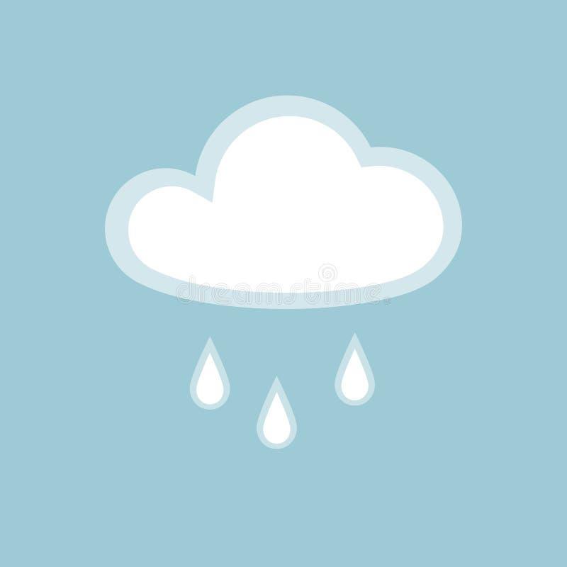 Appen för beståndsdelen för molnregnsymbolen isolerade den enkla symbol på beståndsdel för design för vått väder för blå bakgrund royaltyfri illustrationer