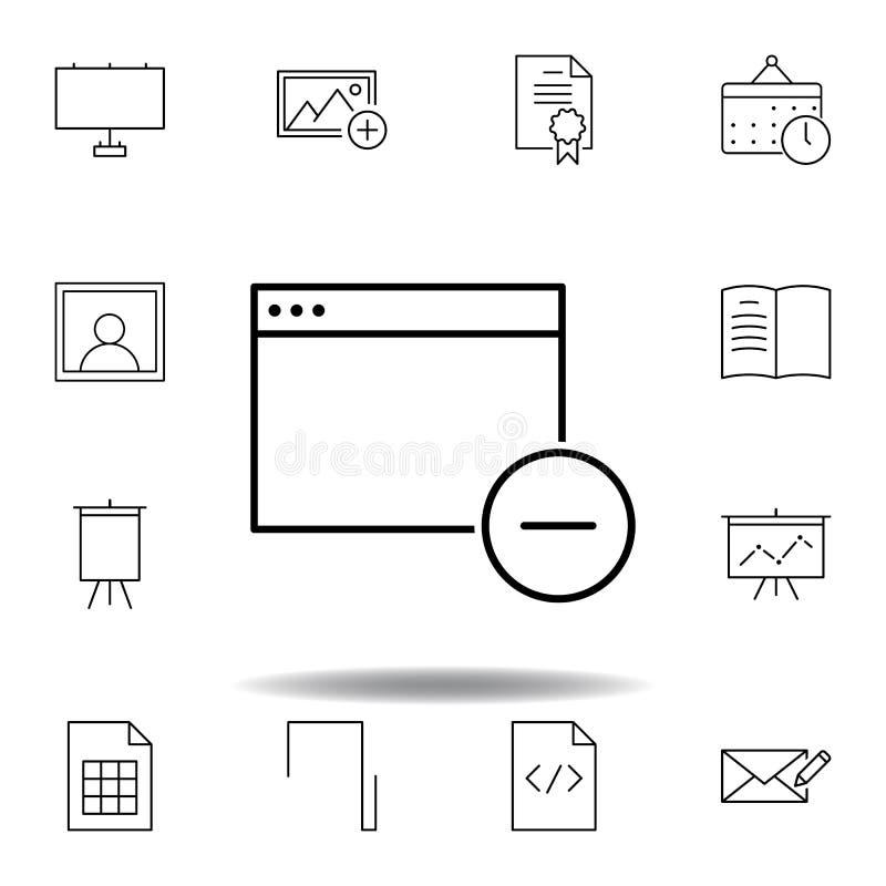 Appen tar bort f?nster?versiktssymbolen Detaljerad uppsättning av symboler för unigridmultimediaillustrationer Kan användas för r stock illustrationer