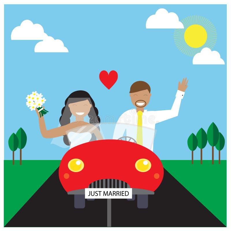Appena automobile della coppia sposata in rosso che va al viaggio illustrazione vettoriale