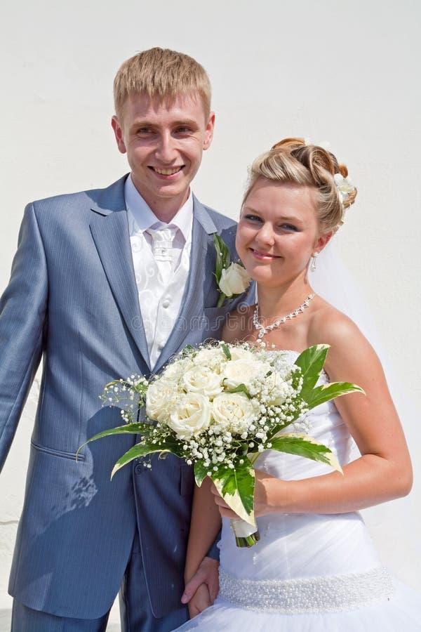Appena coppia sposata fotografia stock