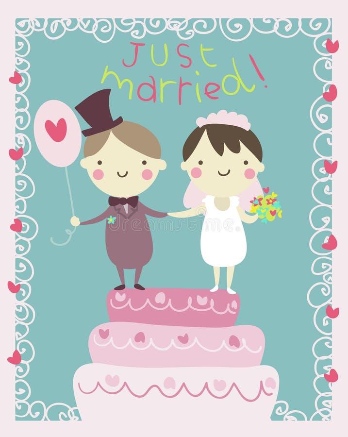 Appena fumetto della coppia sposata illustrazione vettoriale