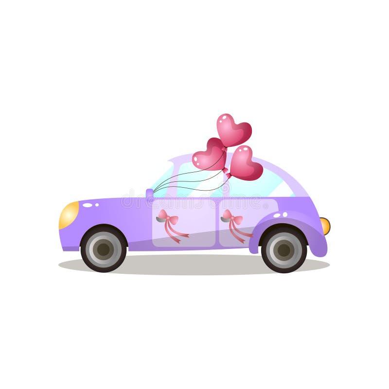 Appena retro automobile porpora sposata con i palloni a forma di del cuore illustrazione di stock