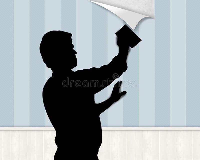 Appendendo sulla carta da parati illustrazione di stock
