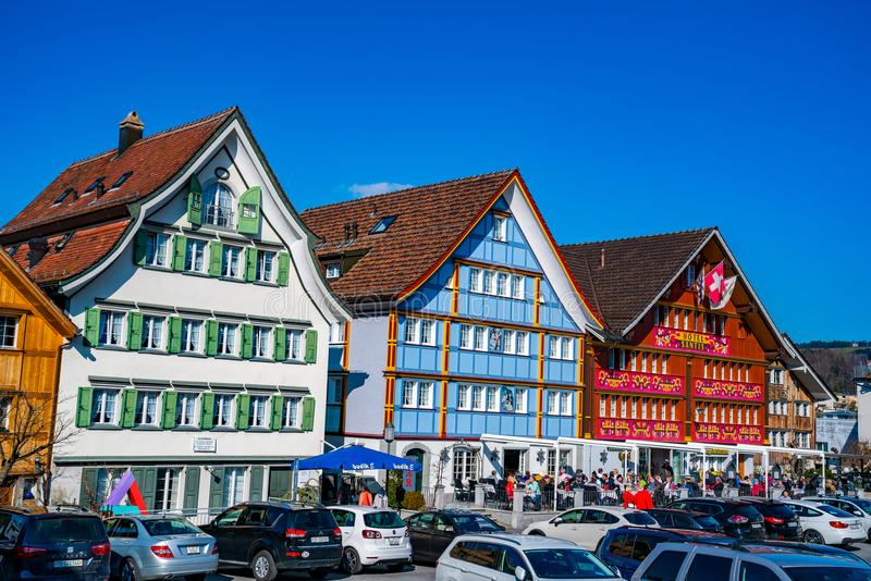 View of central square at Appenzell Switzerland in the morning o. APPENZELL, SWITZERLAND -MARCH 24, 2018 : View of central square at Appenzell Switzerland in the stock photos