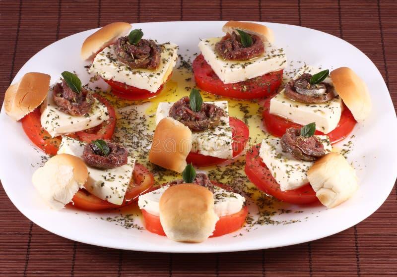 Apperitives da anchova fotografia de stock royalty free