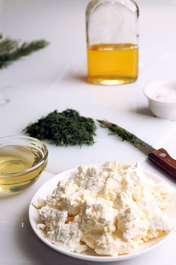 appetisers Keso med huggen av fänkål och olivolja arkivfoton