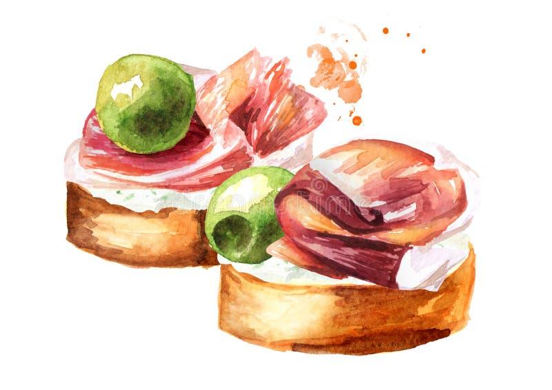 appetisers Smörgås med gräddost, hamon och oliv Dragen illustration f?r vattenf?rg som hand isoleras p? vit bakgrund stock illustrationer