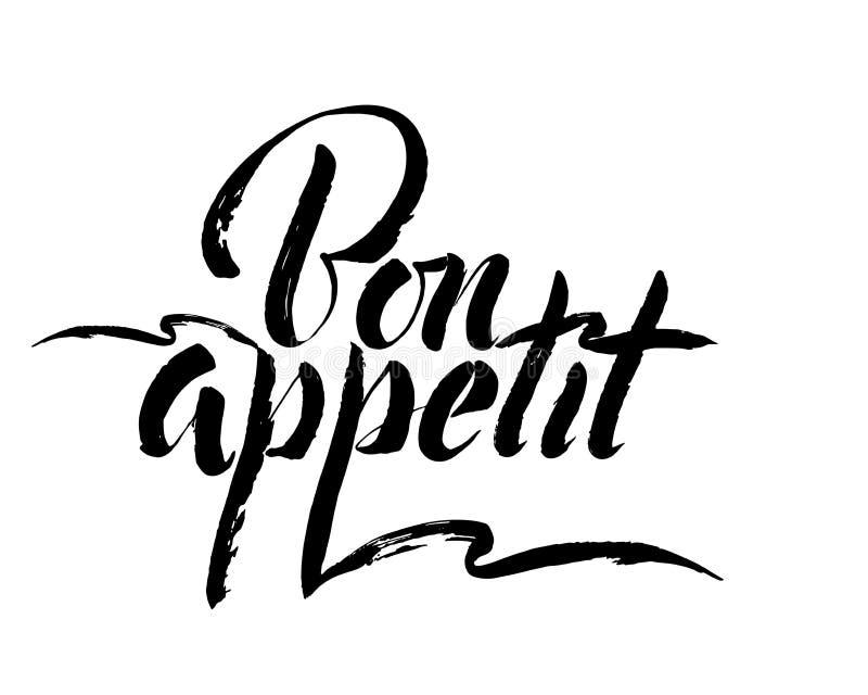 Appetit del Bon - dé la inscripción de las letras al diseño de las vacaciones de invierno, caligrafía blanco y negro de la tinta libre illustration