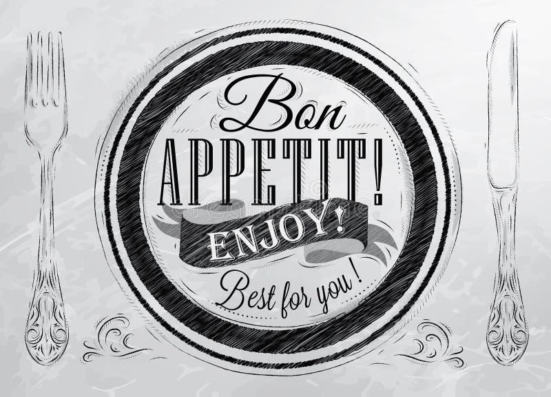 Appetit del Bon del cartel. Carbón. ilustración del vector