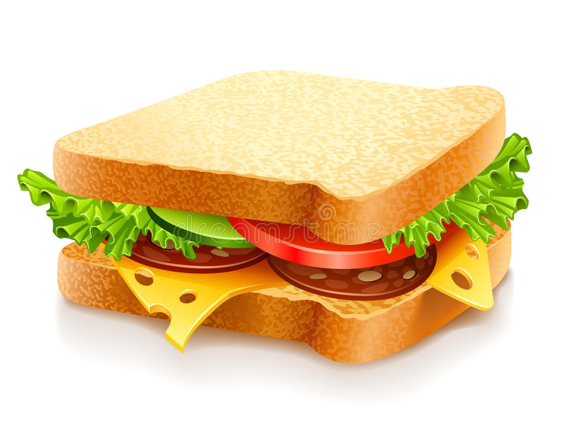 Appetitanregendes Sandwich mit Käse und Gemüse stock abbildung