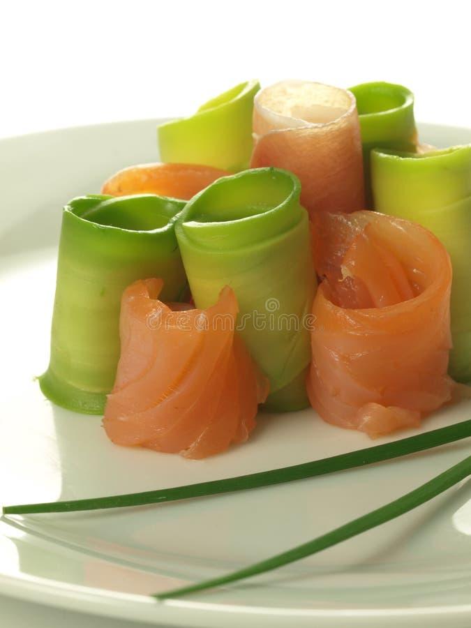 Appetizer: avocado and salmon royalty free stock photo