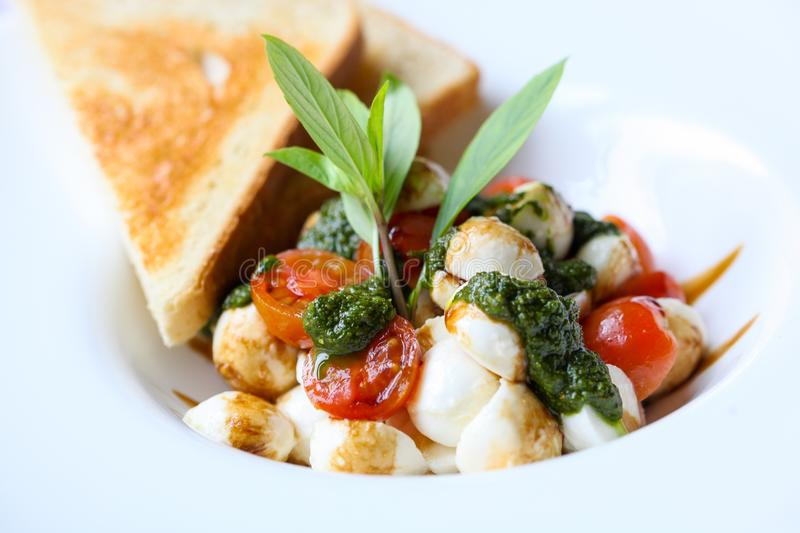 Appetizer, Basil, Caprese stock photos
