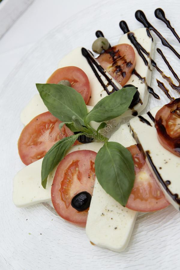 Appetizer, Basil, Cheese royalty free stock image