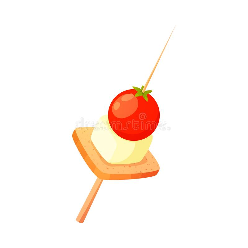 Appetizer with bread, cherry tomato and cheese vector illustration. Hand drawn gourmet appetizer with bread, cherry tomato and cheese on wooden skewer or stick stock illustration
