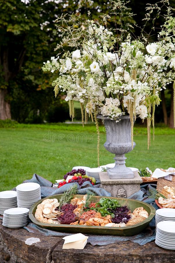An appetizer display during the cocktail hour of a catered wedding or other special event stock photography