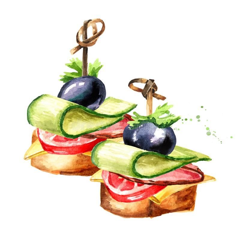 Appetizer for a festive table. Mini canape from baguette, cheese, cucumber and tomato. Watercolor hand drawn illustration isolated. On white background royalty free illustration