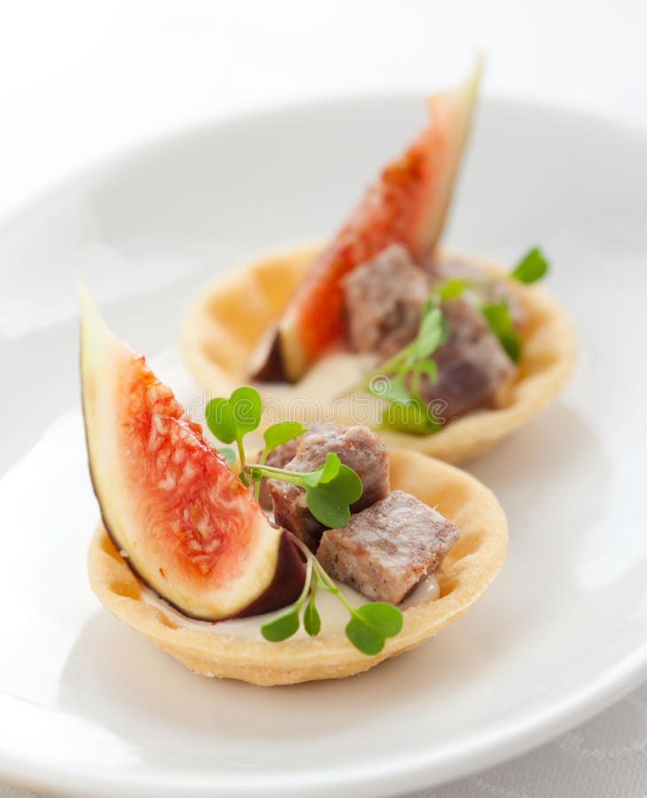 Appetizer With Fig And Pate Royalty Free Stock Photos